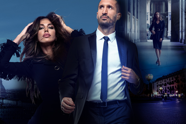 Madalina Ghenea and Giorgio Chiellini in the Christmas spot of 3