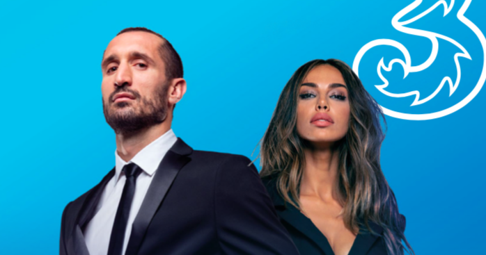 Wind 3 launches the new commercial with Giorgio Chiellini and Madalina Ghenea