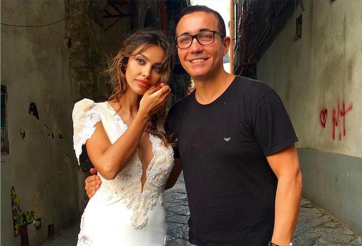 Madalina Ghenea dressed as a bride in the historic center with Vanitas