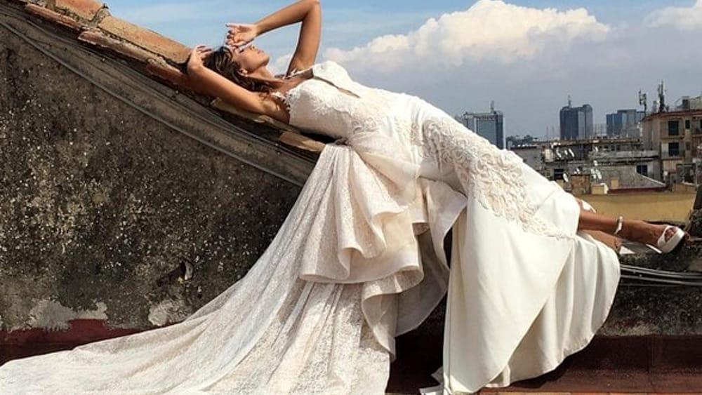 Madalina Ghenea in a wedding dress in Naples